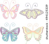 lovely butterfly set in pastel... | Shutterstock .eps vector #494125339