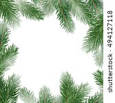 pine tree or fir tree branches... | Shutterstock .eps vector #494127118