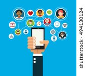 socia media related icons image  | Shutterstock .eps vector #494130124