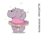 hand drawn cartoon hippo...   Shutterstock .eps vector #494136778