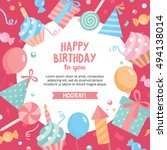 birthday colorful background.... | Shutterstock .eps vector #494138014