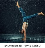 the male break dancer in water. | Shutterstock . vector #494142550