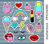 a set of  cartoon patch badges  ... | Shutterstock .eps vector #494146480