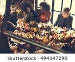 kids kissing thanksgiving... | Shutterstock . vector #494147290
