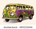 hippie vintage bus  retro car ... | Shutterstock .eps vector #494152444