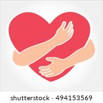 hugging heart vector   hug...   Shutterstock .eps vector #494153569