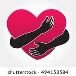 hug the heart  | Shutterstock .eps vector #494153584