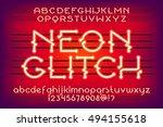 red neon glitch alphabet vector ...   Shutterstock .eps vector #494155618