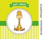 Stock vector baby shower card frame giraffe 494160913