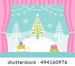 school or theatre stage... | Shutterstock .eps vector #494160976