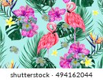 tropical flowers  palm leaves ... | Shutterstock .eps vector #494162044