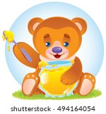 cute little teddy bear eating... | Shutterstock .eps vector #494164054