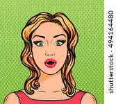 blonde woman surprised face... | Shutterstock . vector #494164480