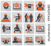engineering icons set  workers... | Shutterstock .eps vector #494165680