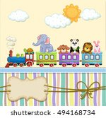 baby shower card with train and ... | Shutterstock . vector #494168734