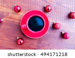 cup of coffee and christmas... | Shutterstock . vector #494171218