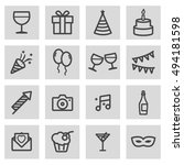 vector black line party icons... | Shutterstock .eps vector #494181598