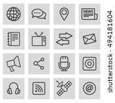 vector black line media icons... | Shutterstock .eps vector #494181604