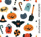 seamless pattern in kawaii... | Shutterstock .eps vector #494182690