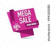 mega sale paper tag or banner... | Shutterstock .eps vector #494183080