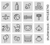 vector black line baby icons... | Shutterstock .eps vector #494183740