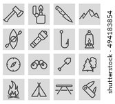 vector black line camping icons ... | Shutterstock .eps vector #494183854