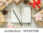 making list of presents on wood ... | Shutterstock . vector #494187508