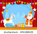 puppet show with sinterklaas...   Shutterstock . vector #494188420