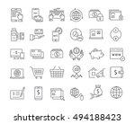 set vector line icons in flat... | Shutterstock .eps vector #494188423