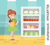 woman in grocery store vector... | Shutterstock .eps vector #494189758