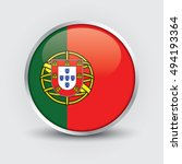 flag of portugal glossy button | Shutterstock .eps vector #494193364