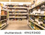 blurred image of wine shelves... | Shutterstock . vector #494193400