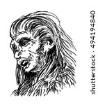 neanderthal man  homo sapiens... | Shutterstock .eps vector #494194840