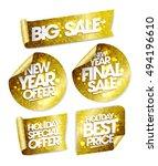golden stickers set   big sale  ... | Shutterstock .eps vector #494196610