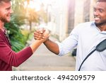 interracial friends greeting... | Shutterstock . vector #494209579