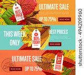 autumn seasonal sale webs... | Shutterstock .eps vector #494209960