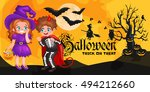 cute colorful halloween kids in ... | Shutterstock .eps vector #494212660