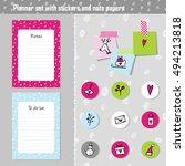 planner set. note paper  notes  ... | Shutterstock .eps vector #494213818