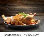 whole roasted chicken on dark... | Shutterstock . vector #494223694