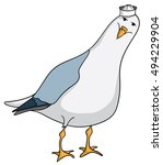 Friendly Cartoon Seagull With...