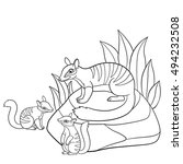 coloring pages. mother numbat... | Shutterstock .eps vector #494232508