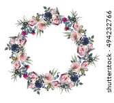Watercolor Floral Wreath Pink...