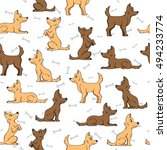 seamless pattern and dog bones... | Shutterstock .eps vector #494233774