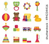 baby toys flat icon set vector | Shutterstock .eps vector #494234416