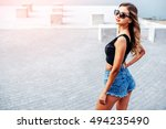 pretty young woman walking in... | Shutterstock . vector #494235490