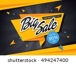 big sale banner template design | Shutterstock .eps vector #494247400
