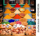 spices and herbs on a moroccan...