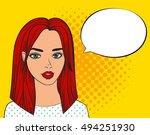 pop art sexy woman with speech... | Shutterstock .eps vector #494251930