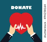 concept of donate organ  heart... | Shutterstock .eps vector #494258164