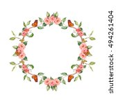 elegance floral wreath with... | Shutterstock . vector #494261404